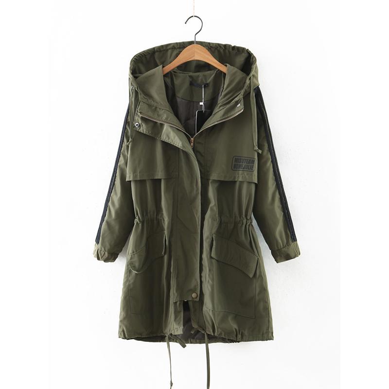 hot sale online 3f737 af44d Frühling-Herbst-Armee-Grün-langer Trenchcoat für  Damen-Windbreaker-Frauen-mit Kapuze Ttench-coat einfache feste  Taschen-Mantel-Feminine