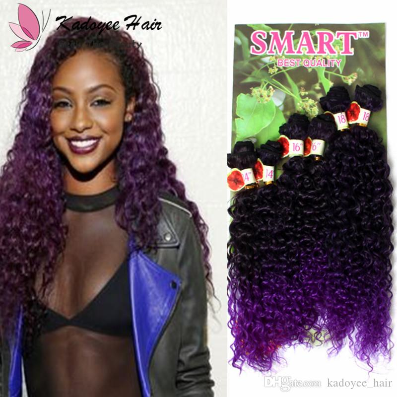 Dark Purple Ombre Kinky Curly Synthetic Hair Extensions 141618 B27