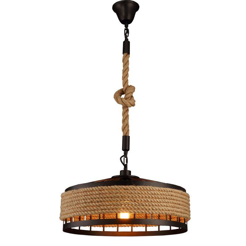 loft hemp rope pendant light industrial vintage hanging lights iron & rope chandeliers droplight for restaurant Bar coffee room decoration
