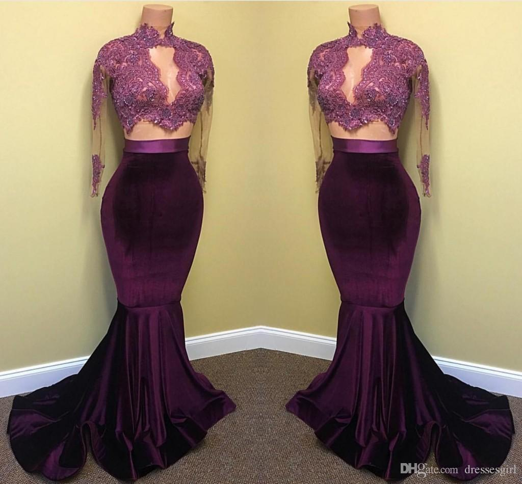 34d1adeed9dc 2018 Hot Velvet Prom Dresses Mermaid Lace Appliques Beaded Sheer Long  Sleeves Sweep Train Evening Party Gowns Arabic Celebrity B Darlin Prom  Dresses ...