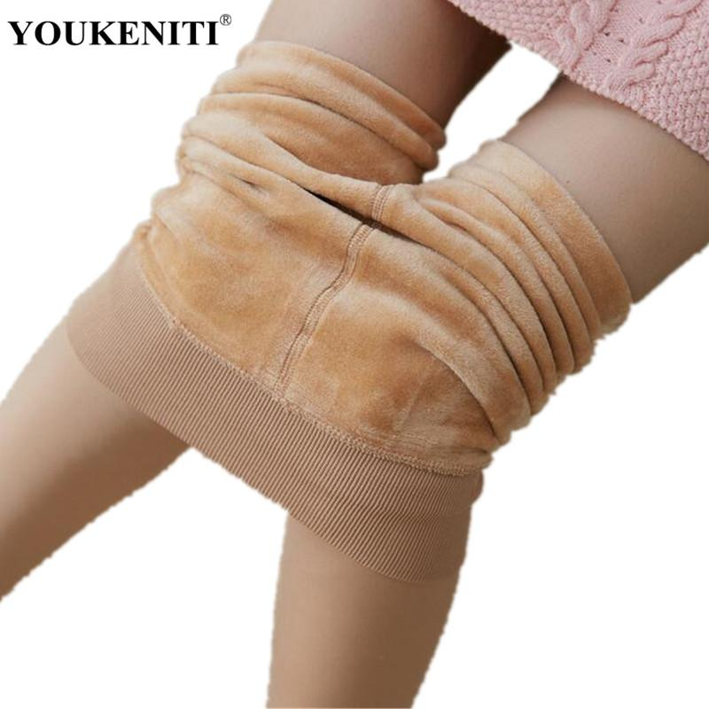 3d42957018c 2019 YOUKENITI Winter New Plus Fleece Thick Leggings Skin Color Match Short  Skirt High Waist Solid Elastic Fitness Legging For Women From Jingju