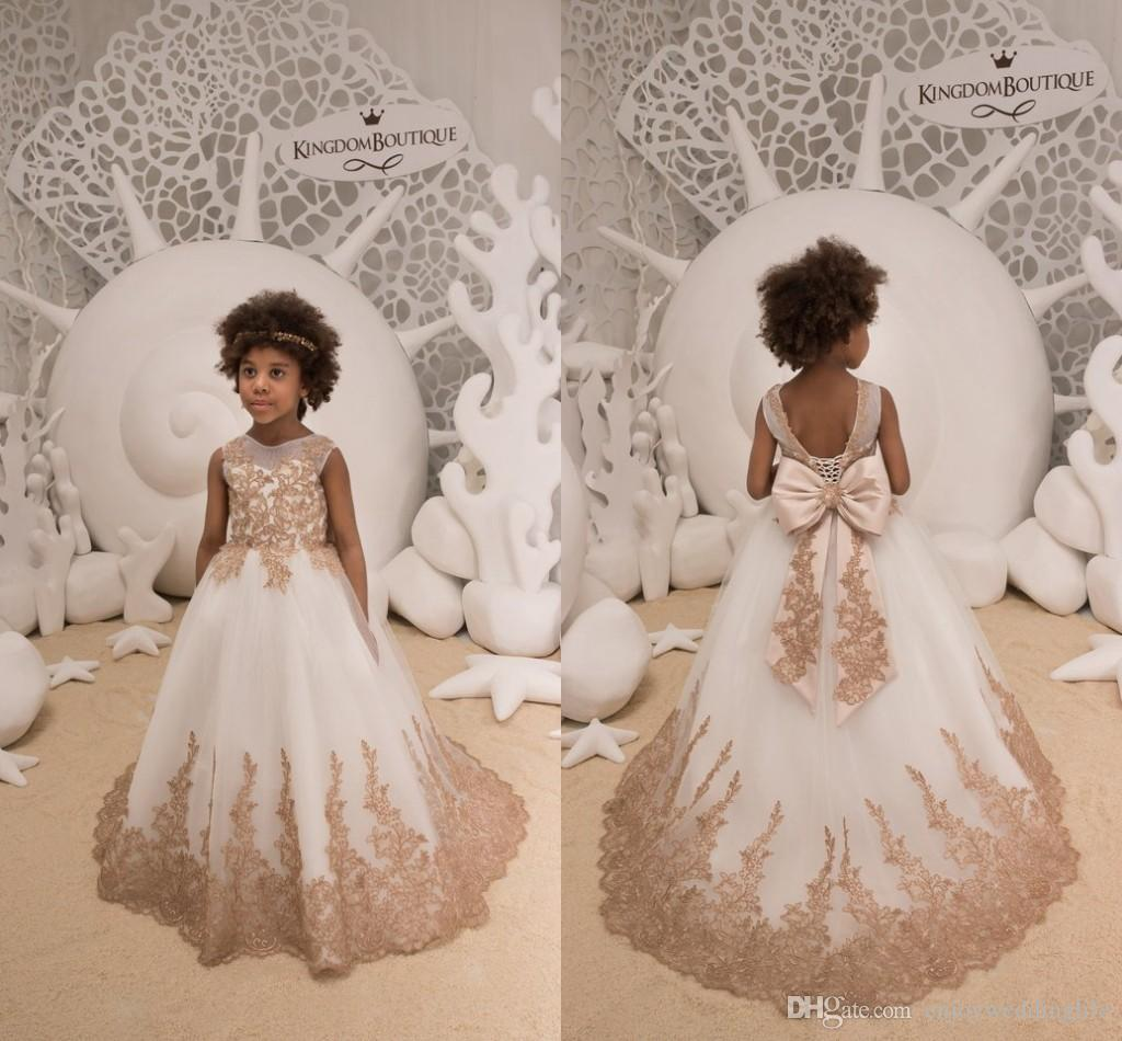f725c149e35 Lovely White Tulle Gold Lace Appliqued Little Girls Flower Girl Dresses  2019 Sheer Neck Corset Back With Ribbon Bow Girls Pageant Wear Used Flower  Girl ...