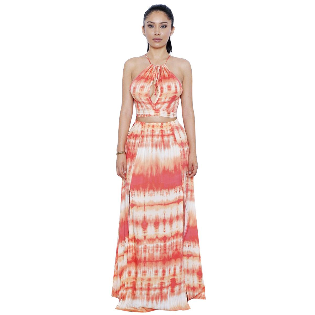 dada0129cce 2019 Two Piece Set Tie Dye Dress Women Sundress Robe Club Sexy Off Shoulder Crop  Top And Maxi Skirt Sets Long Party Summer Beach Sets From Meinuo004