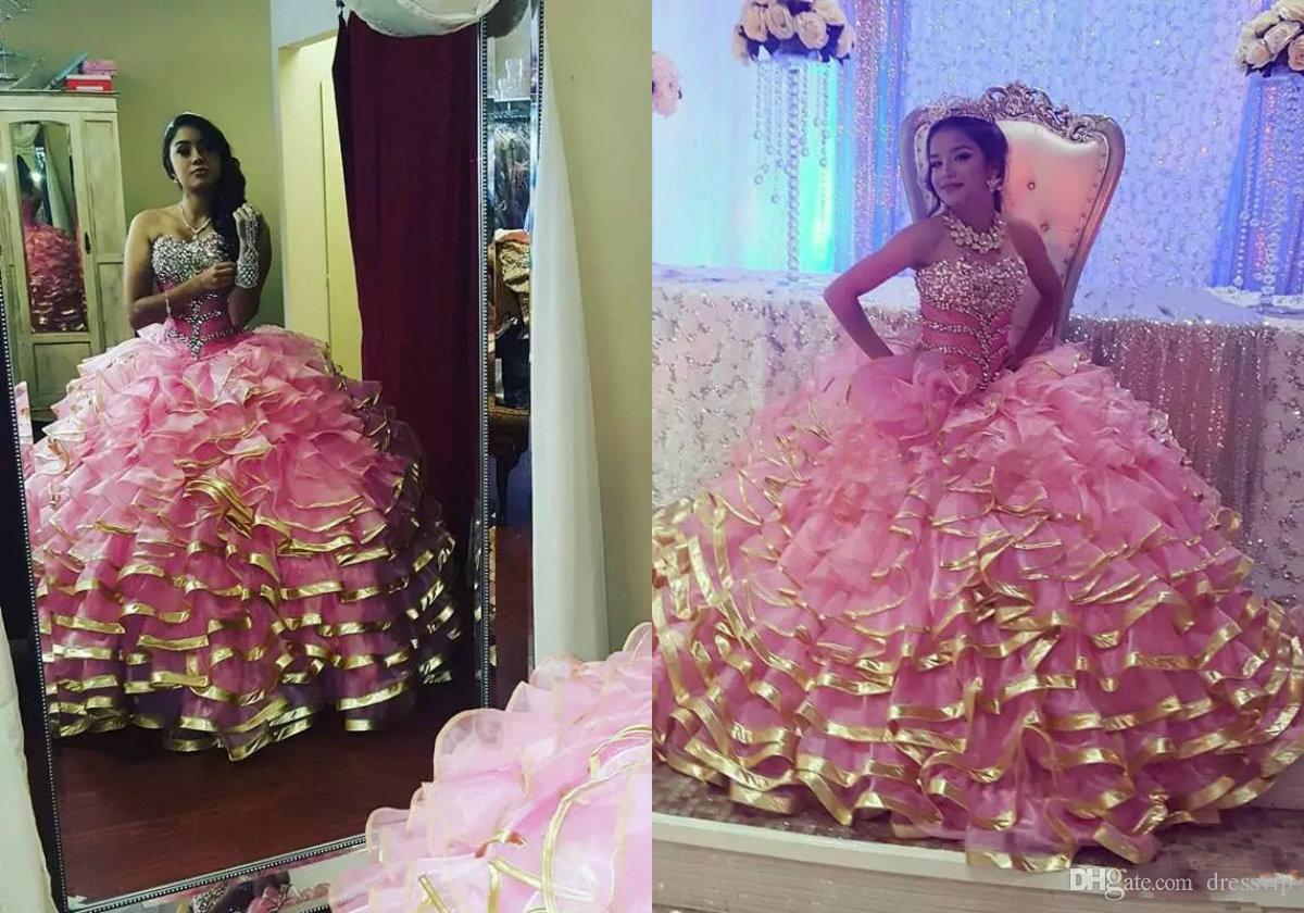 9b882c3dd Compre 2018 Quinceanera Vestidos De Encaje Cristales Moldeados Por Encargo  Cariño Sin Mangas Vestido De Bola Dulce 16 Vestidos De La Colmena Más  Vestidos De ...