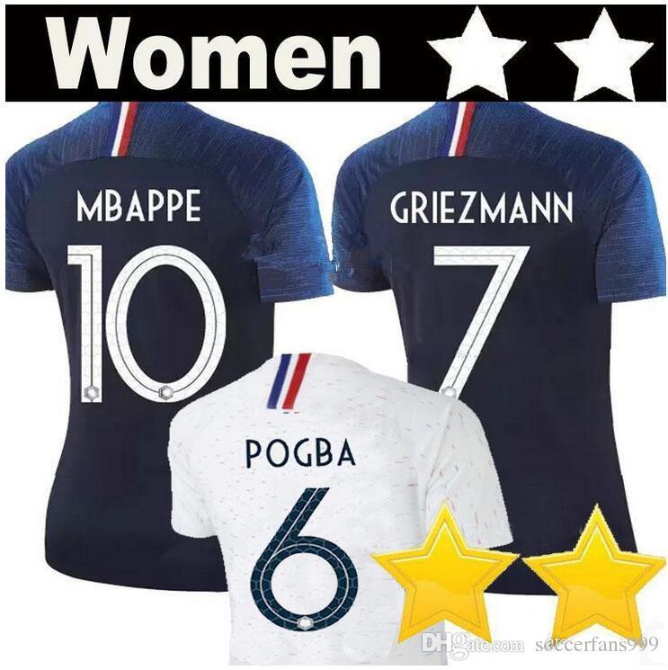 pretty nice 949f2 86963 Women MBAPPE #10 World Cup Soccer Jersey 2018 girls POGBA #6 GRIEZMANN #7  Soccer Shirts 2 Stars PAYET DEMBELE GIROUD THAUVIN football