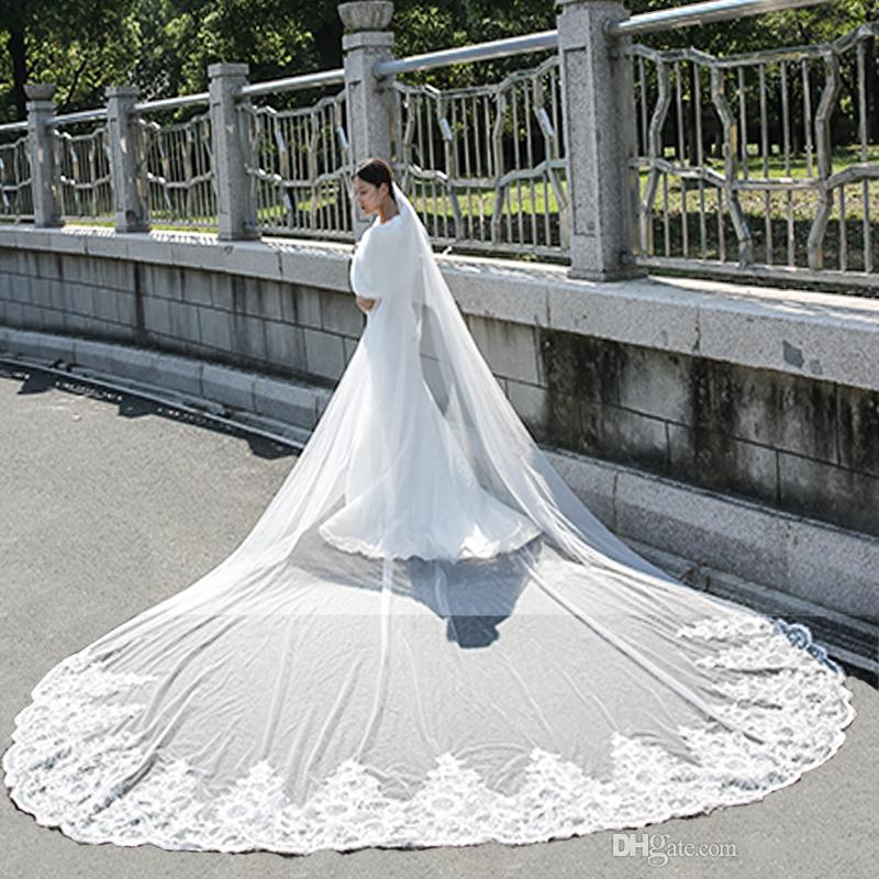 fc8bfe43a0 Cathedral Length Long Wedding Veils Lace Edge One Layer Applique Sequined Wedding  Veil Bride Accessories Cheap Bridal Veil With Comb Tiaras And Veils ...
