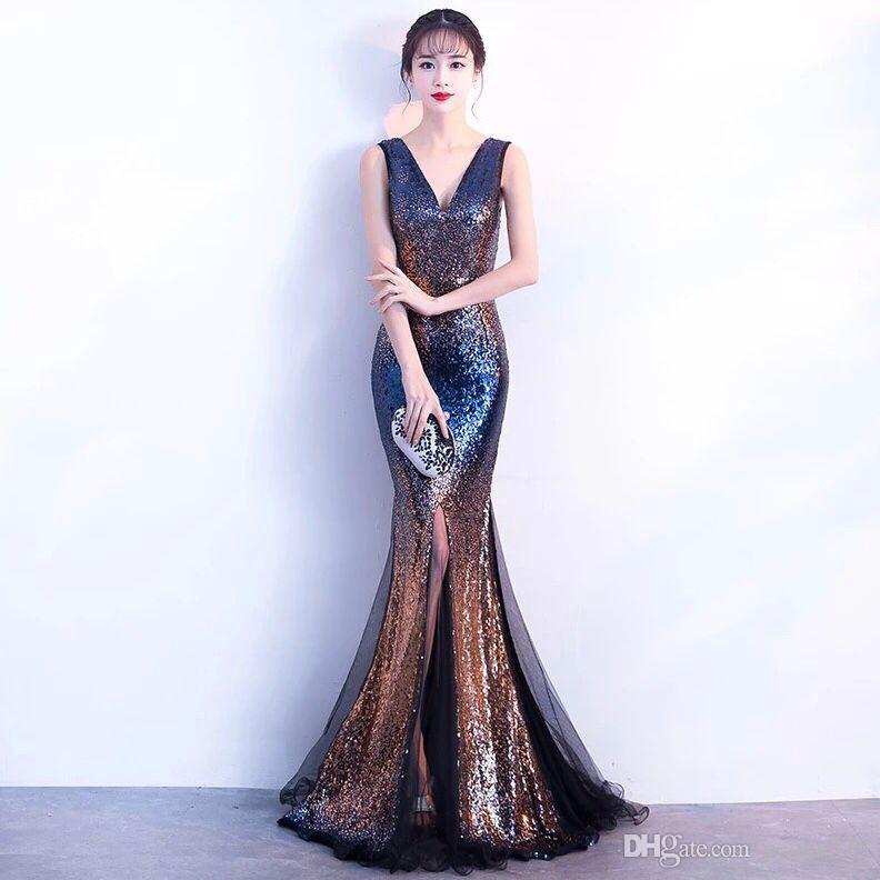 2018 2018 Sexy Bling Mermaid Prom Dresses Deep V Neck Halter Pageant ...