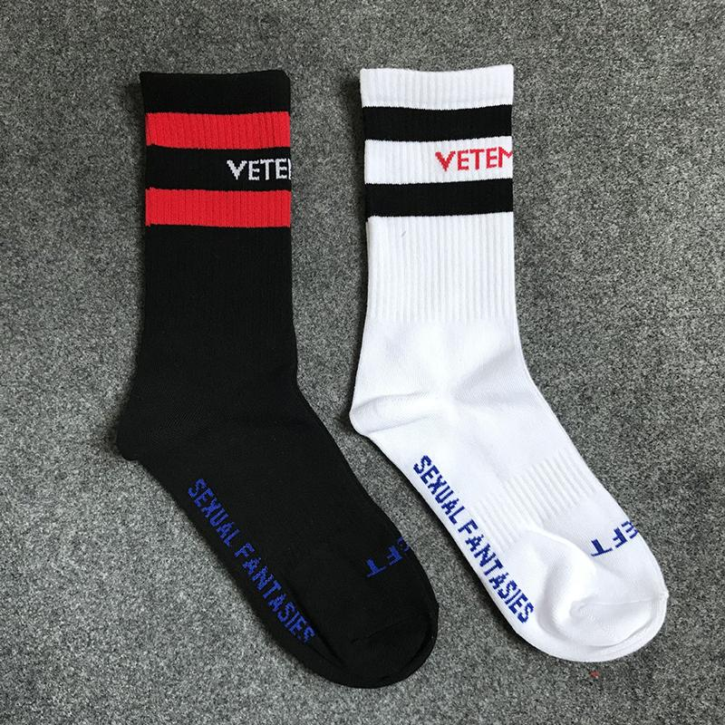 New Vetements Black White Socks Hip Hop Style Letter Stripes Sports Cotton Stockings Athletes Leg Warmers Skateboards Stocks OXH0107