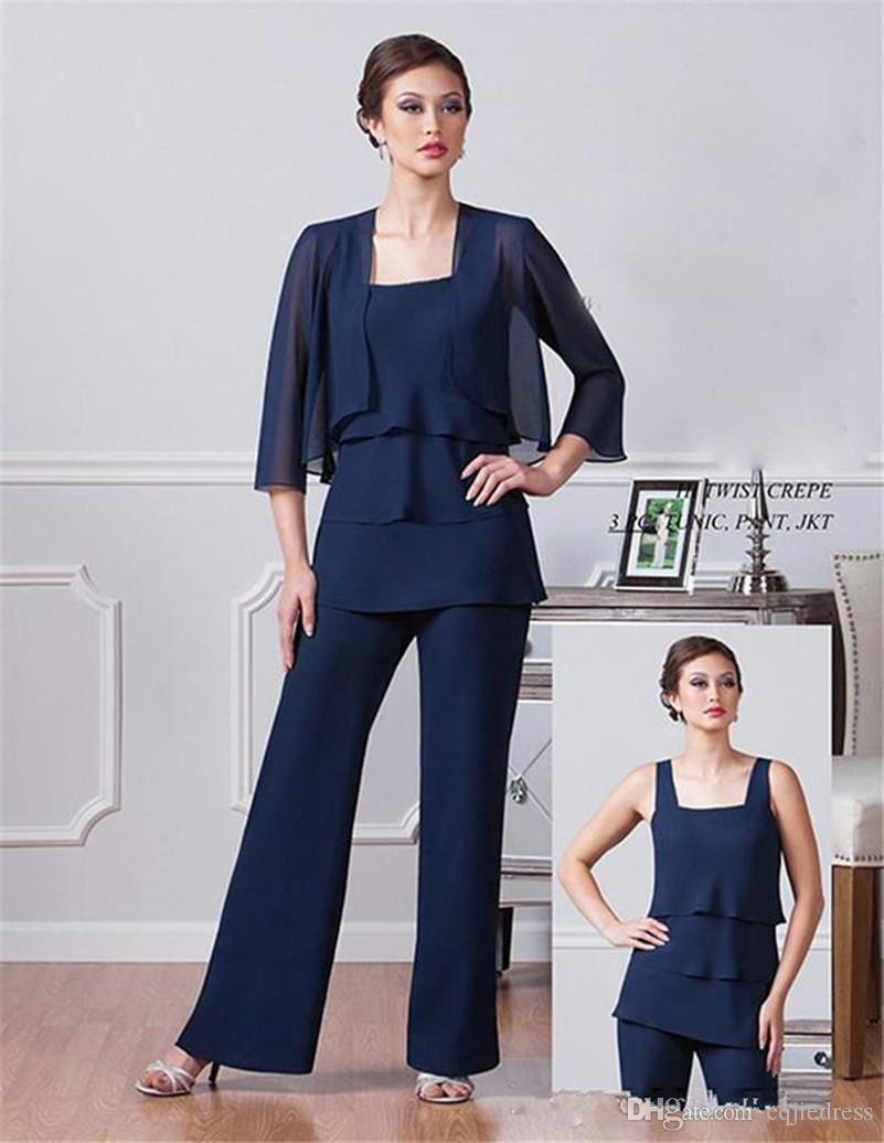 New Dark Navy Blue Chiffon Mother of The groom pantsuit set With Jacket Spaghetti Mothers Pants Suits Ankle Length Evening wear