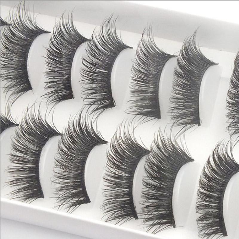 Handmade Natural Big Eye Natural Eye Lashes Makeup Long Thick Cross Fake Makeup Beauty False Eyelashes Party Stage #G20