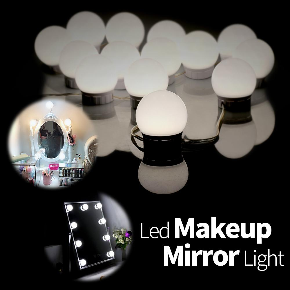Led Indoor Wall Lamps Hollywood Mirror Led Bulb 6 10 14pcs Vanity Makeup Mirror Lights For Dressing Table Ac 85-265v Wall Lamp Adjustable Brightness Soft And Light Lights & Lighting