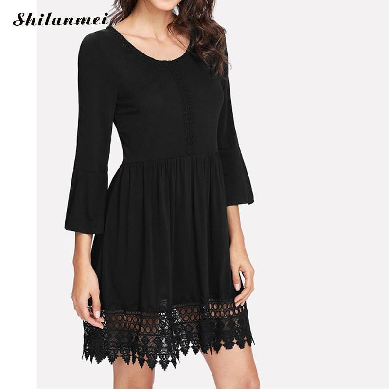 ec8752a54763 2019 Black O Neck Woman Mini Dress Three Quarter Sleeve Lace One Piece Casual  Female Streetwear Party Dresses Plus Size From Feixianke