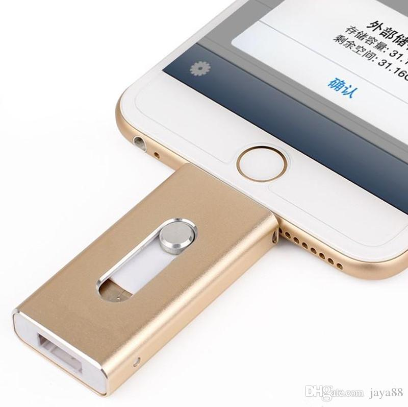 OTG USB Flash Drive For Apple iPhone 5S 6 6S Plus 7 8 3 In 1 Pen Drive Metal Pendrive 16G 32G 64G