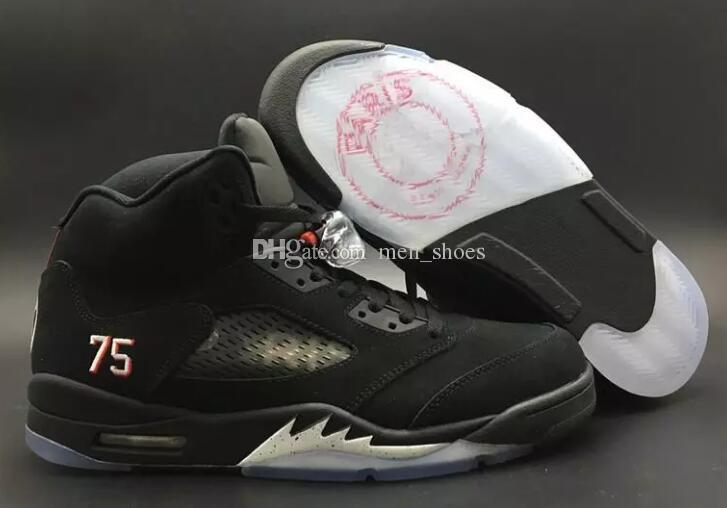 quality classic factory outlet Top Quality 5 BCFC PSG Paris Saint-Germain Basketball Shoes Men 5s Black  Suede Sports Sneakers With Shoes Box