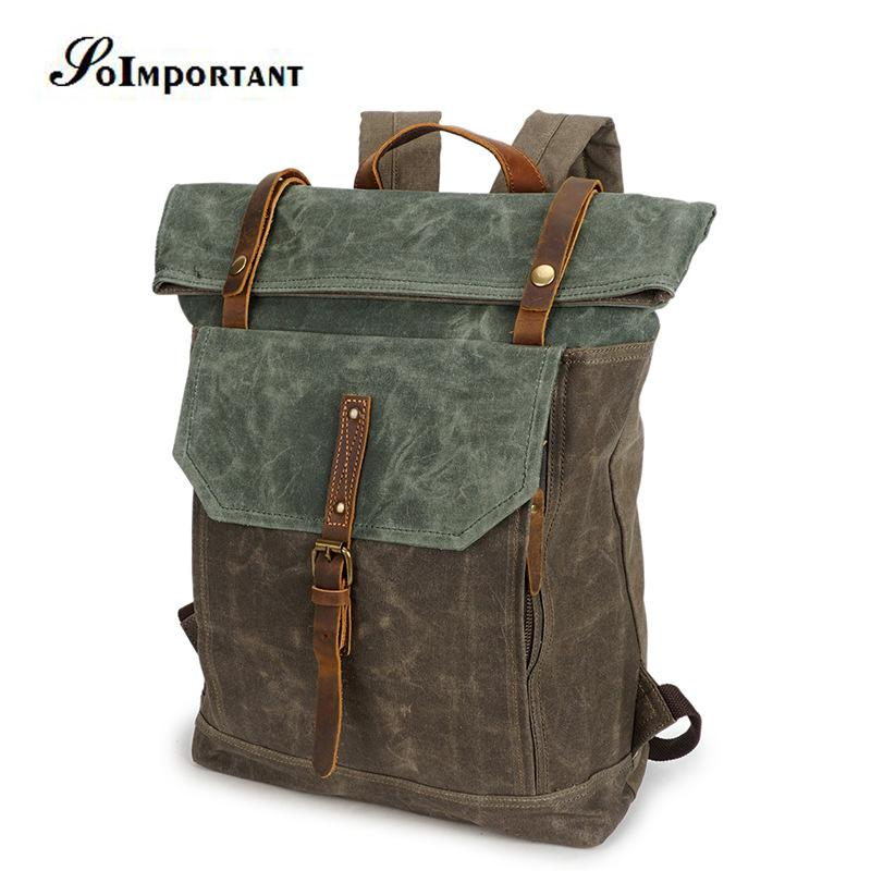 562318d530b0 Vintage Oil Wax Genuine Leather Backpack Female Men Stylish Travel Large  Capacity Backpack Laptop Male Luggage Shoulder Bags Herschel Backpacks Best  ...