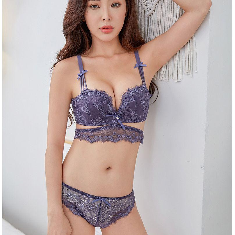 201b206e16 2019 Half Cup Lace Lingerie Sexy One Piece Seamless Girls Underwear New  Push Up Thicken Cup Bralette Women Bra Set From Neinei