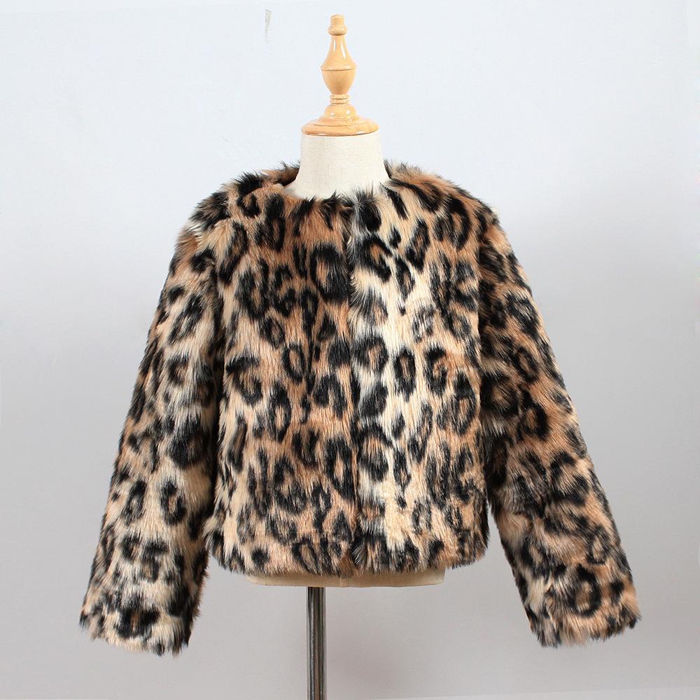 f1339eaf8469 Little Girls Leopard Fur Coats Baby Girls Faux Fur Clothes Toddler ...
