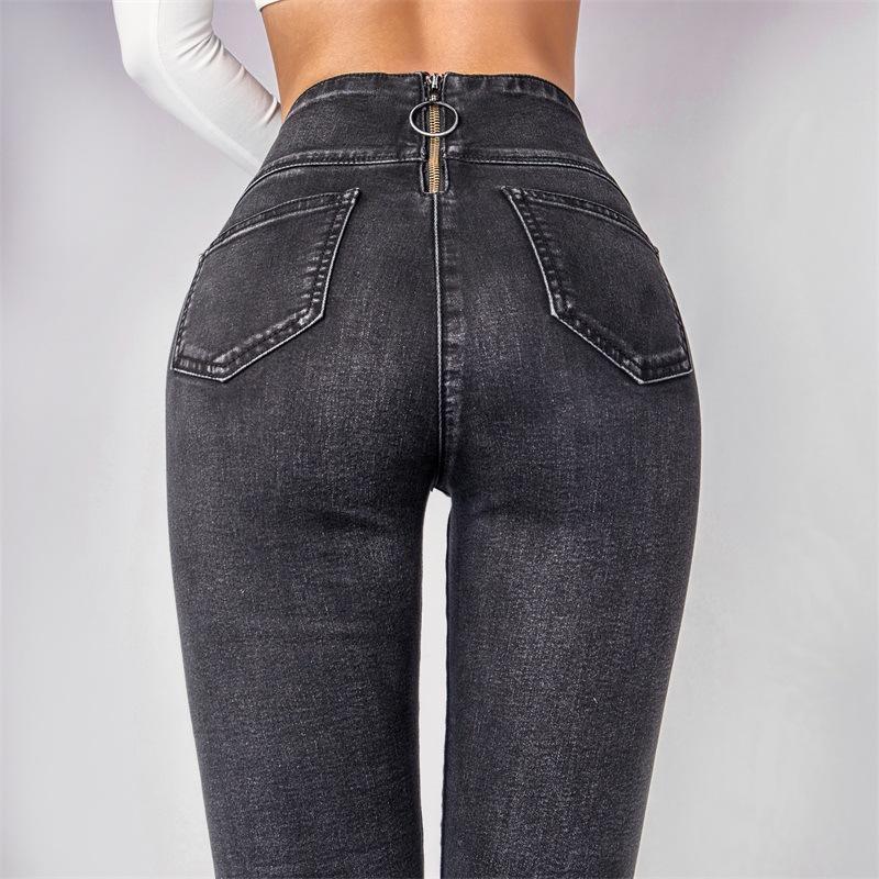 899bd84ee852f Acquista Boyfriend Jeans Abbigliamento Donna Vita Alta Skinny Jeans Stretch  Skinny Posteriore Cerniera Pantaloni Denim Neri Donne Autunno 2018 A  38.41  Dal ...