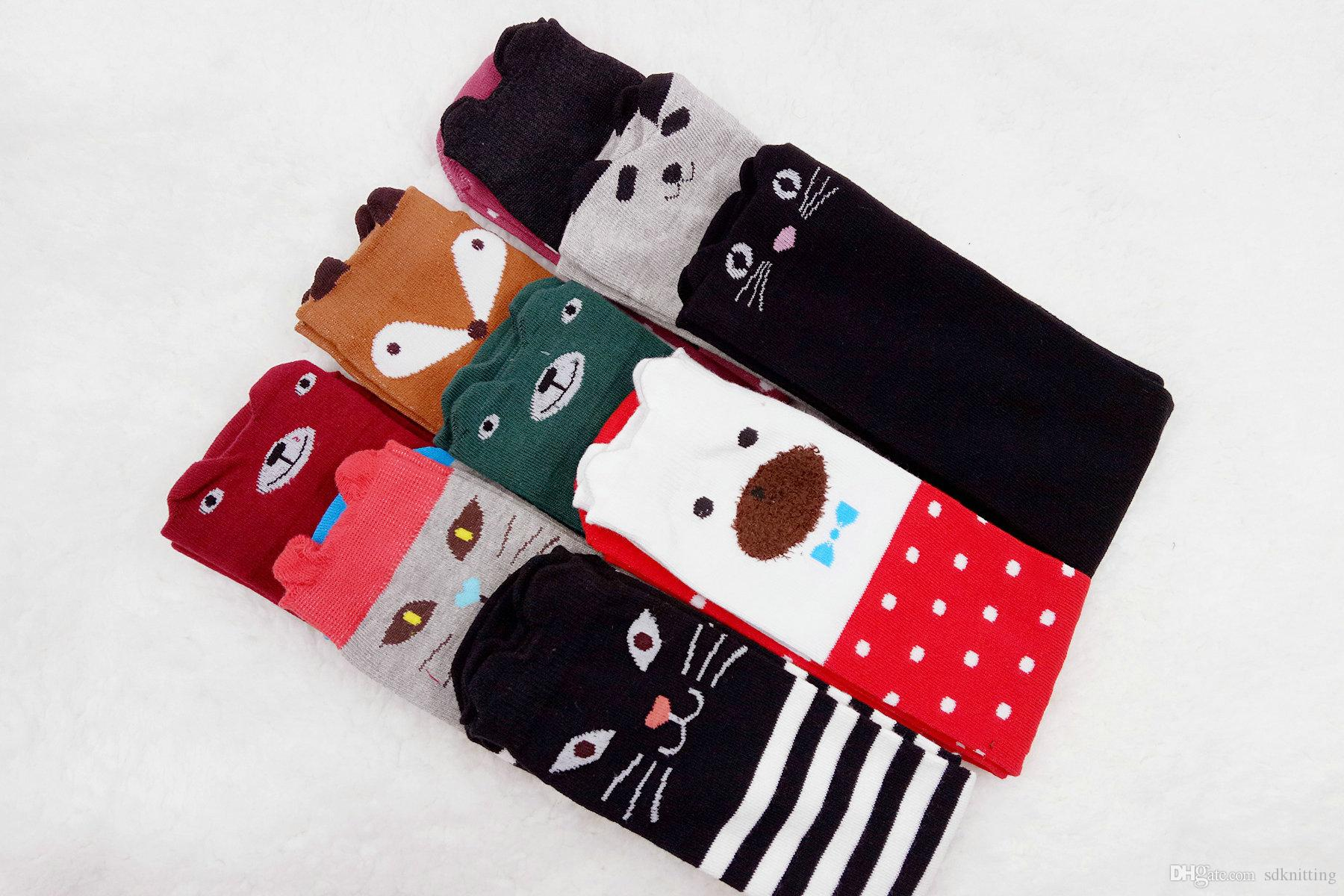 الكرتون الحيوان تدفئة الساق الفتيات الركبة عالية الجوارب أطفال فوكس الباندا القط طباعة مخطط الركبة جورب