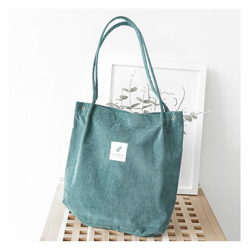 70f64de16896 2018 Women Corduroy Canvas Tote Ladies Casual Shoulder Bag Foldable  Reusable Shopping Bags Beach Bag Female Cotton Cloth Handbag Y1890801  Satchel Messenger ...