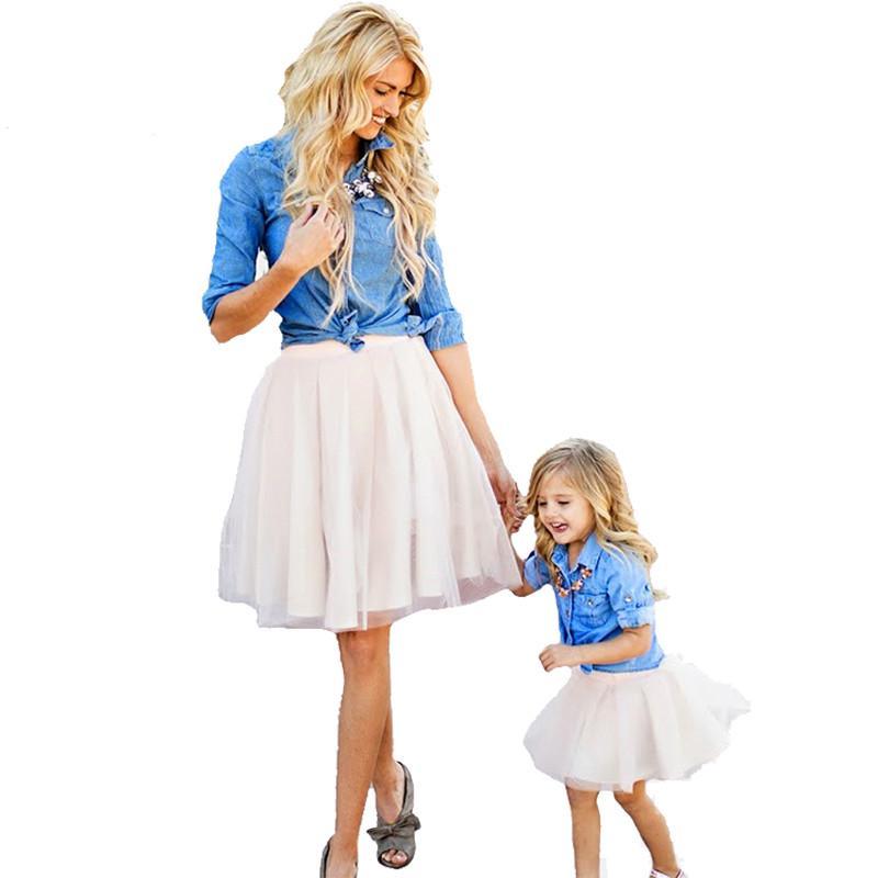 5ba5b49682 Mother Daughter Clothes Set Family Look Children Girl Women Long Sleeved  Denim Shirt+Tutu Skirt Matching Outfits Matching Family Sweaters Matching  Mother ...