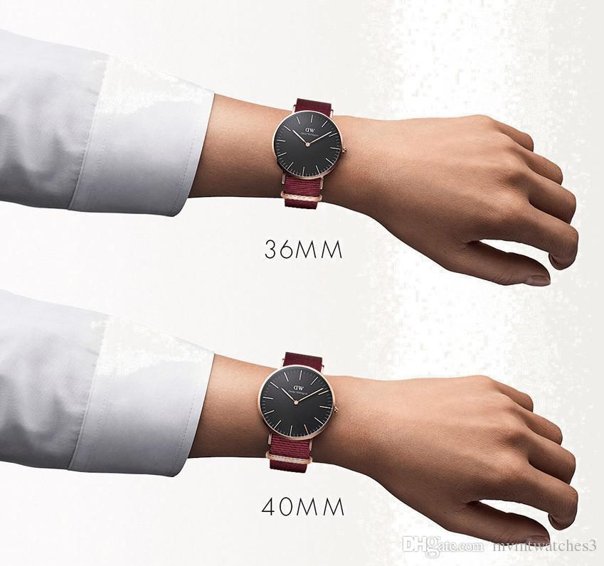 Nuovi uomini da 40 mm Daniel Wellington dw orologi sportivi da uomo il tempo libero Orologio da donna 36 mm moda orologio al quarzo Cinturino in pelle blu impermeabile in nylon