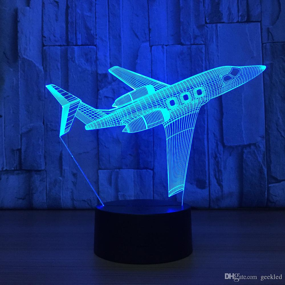 2018 Airplane 3D Optical Illusion Lamp Night Light DC 5V USB Charging AA Battery Wholesale Dropshipping
