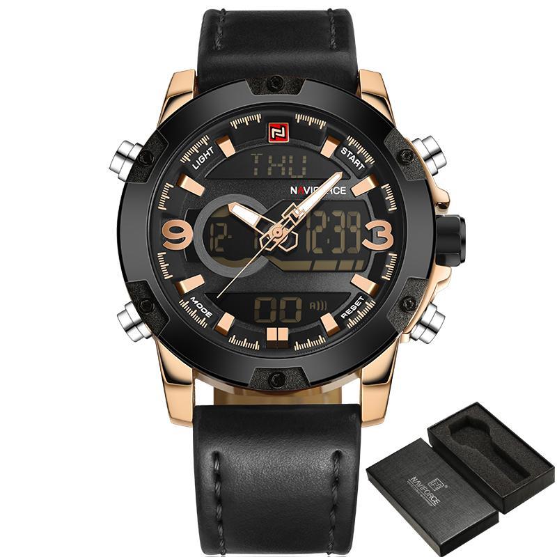 e8ca19962e9 Compre NAVIFORCE Homens Relógios De Couro De Marca De Luxo Analógico  Digital Relógios De Esportes Dos Homens Do Exército Militar Relógio Homem  Relógio De ...
