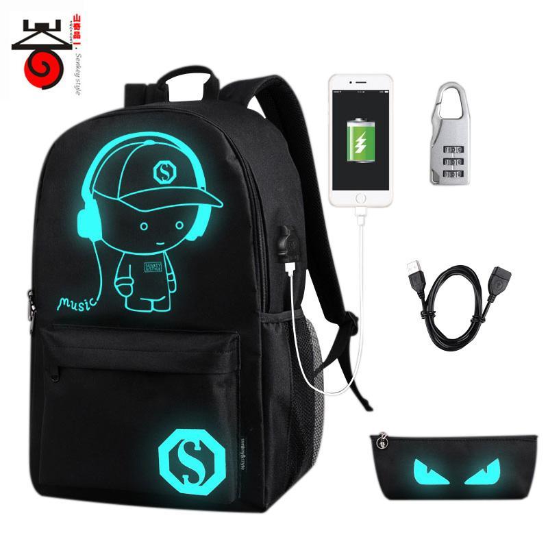 0f4afc310189 Senkey Luminous Cartoon Men Women s Teenagers School Backpack Night  Lighting Bags with USB charging backpacks Pensil bag