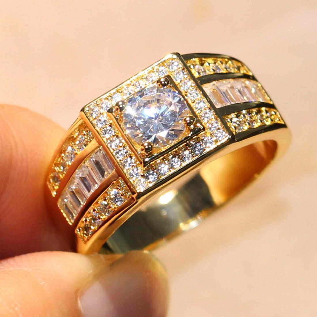 Stunning gioielli di lusso fatti a mano originale 10KT oro giallo riempito rotondo bianco topazio diamante della cz pietre preziose uomini wedding band anello gli amanti