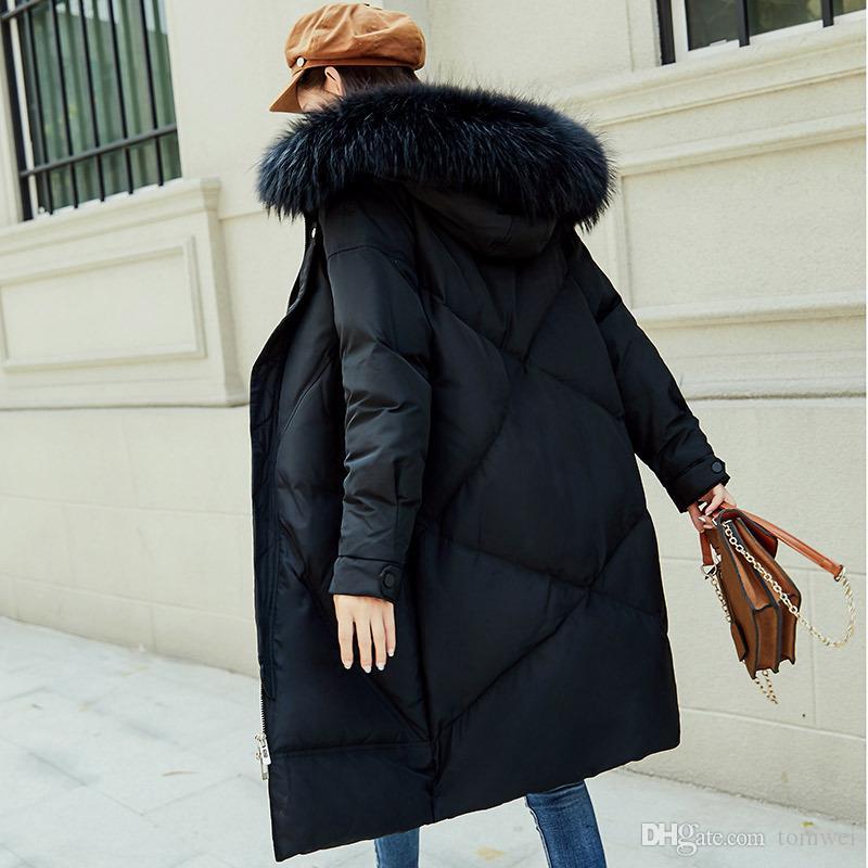 4b406a5e5 2019 Womens Down Jacket Winter Long Coats With Fur Collar Duck Down ...