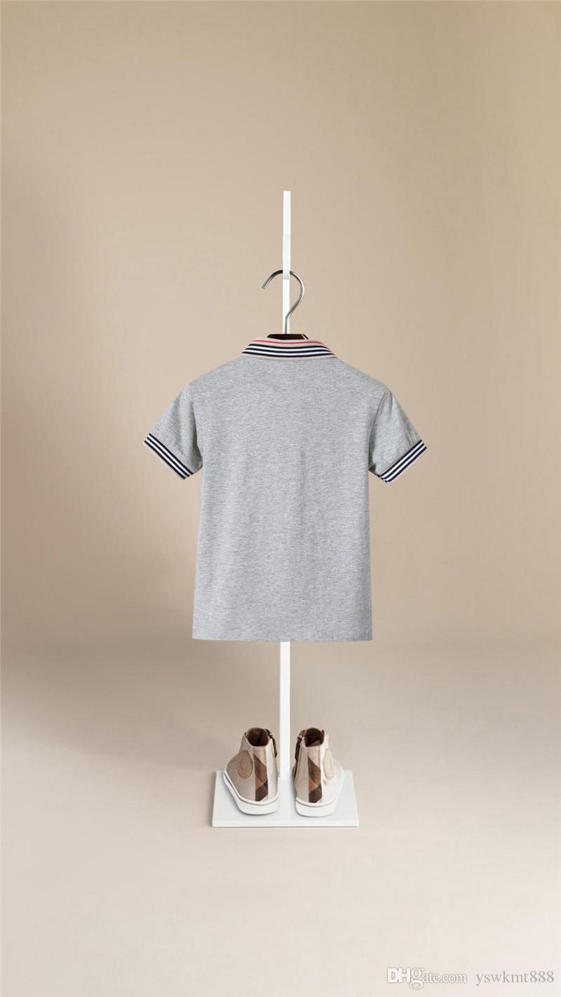 En Kaliteli Erkek Yaz Moda Yaka T-shirt Kısa Kollu Ceket Eğlence Pamuk çocuk T-shirt Erkek Versiyonu