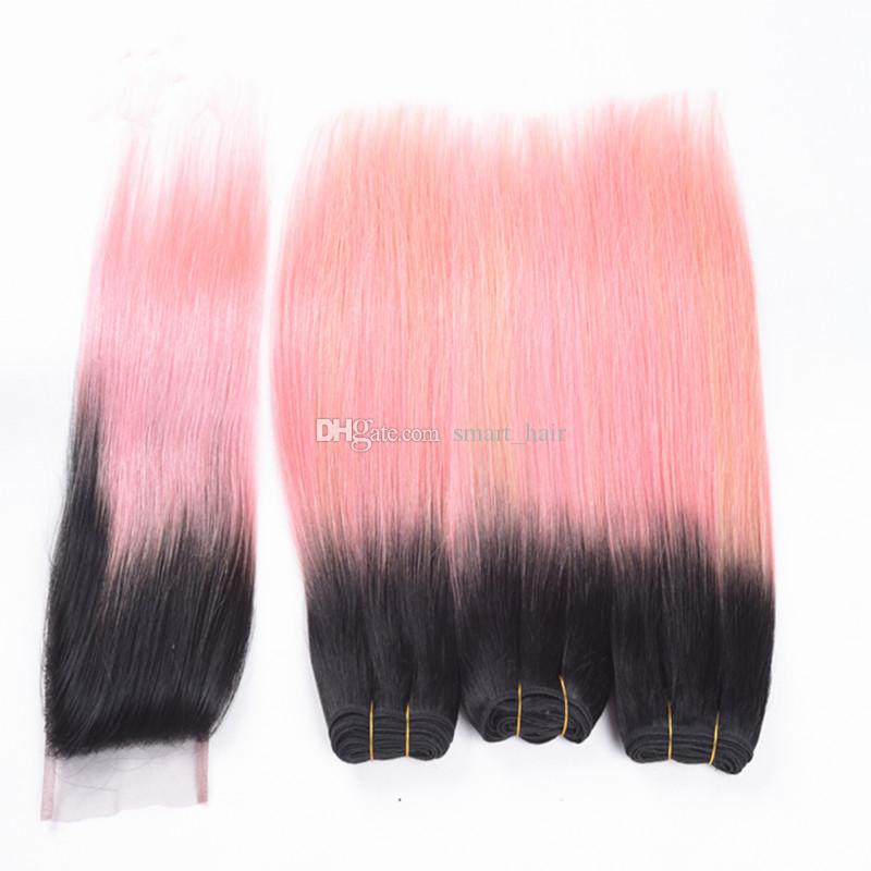 Ombre Silky Straight Virgin Hair 3Bundles With Lace Closure Two Tone 1B Pink Virgin Hair Extension With Top Lace Closure 4x4