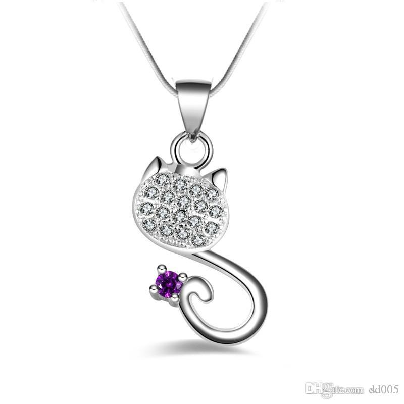 With Diamond Cat Necklaces Silver Plating Safety Prevent Allergy Jewelry  Electroplate S Type Pendant For Women Ladies 7ml BB
