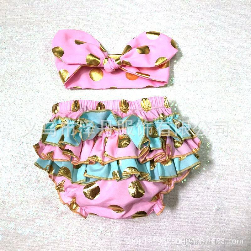 girls gold polka dot shorts baby bloomers + headbands set childrens ruffled shorts kids cotton underwear girl boutique short pants wholesale