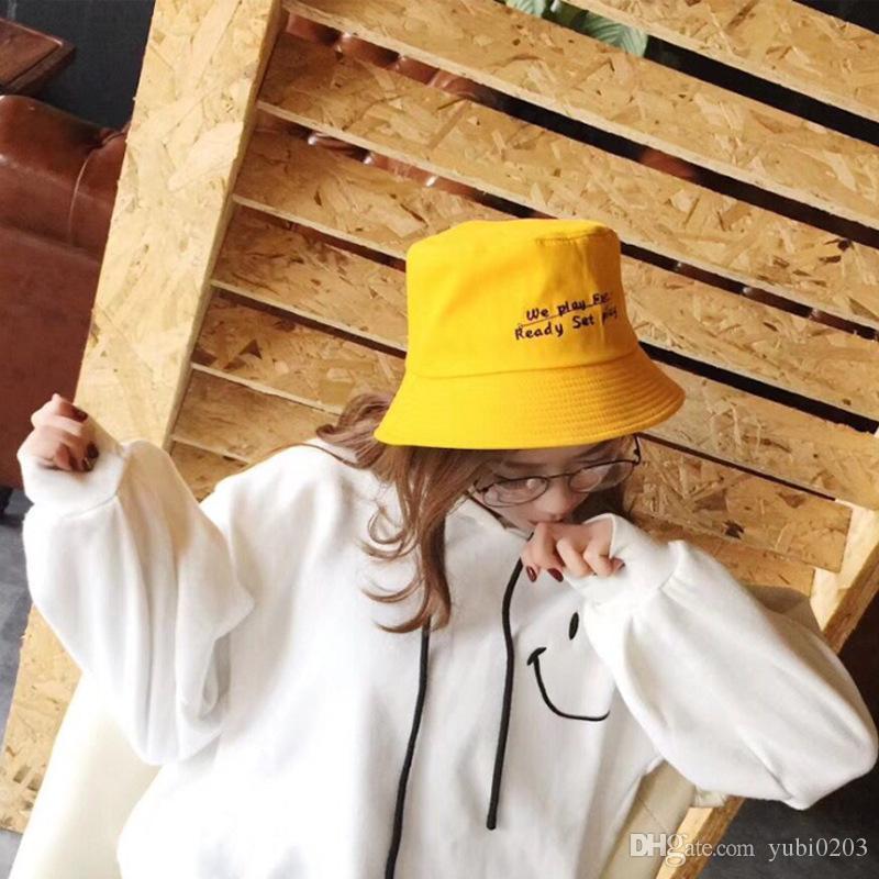 32f2015d5 Fisherman s hat ins hot wild hat men s women s unisex Japanese summer art  Korean version of the letter embroidered big hat bowl cap