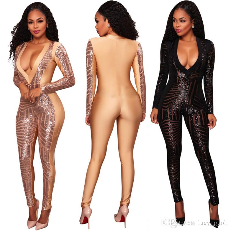 6b5f7373900 2019 Sexy Sequins Jumpsuit And Rompers Women Skinny Long Pants Long Sleeve  Party Club Women Jumpsuits Bodycon Black Gold Overalls Plus Size S XXL From  ...