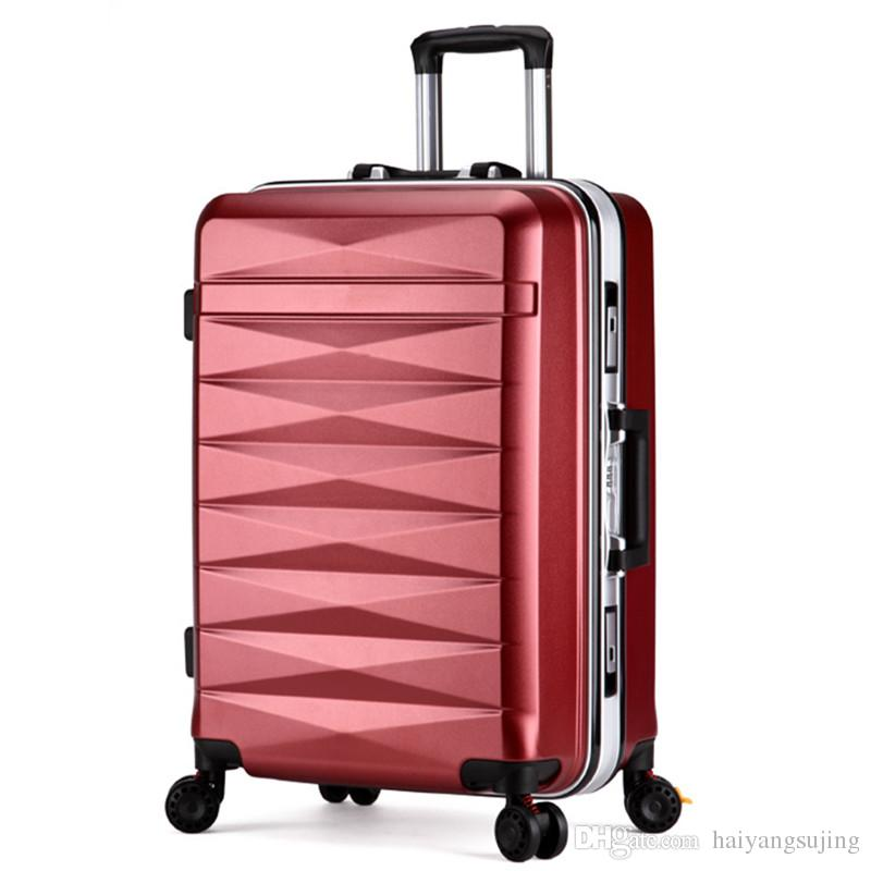 b8589e7c5c30 Men women travel trolley case suitcase bags student shipping box aluminum  frame universal wheel ABS PC luggage bag 20 24 inch password box