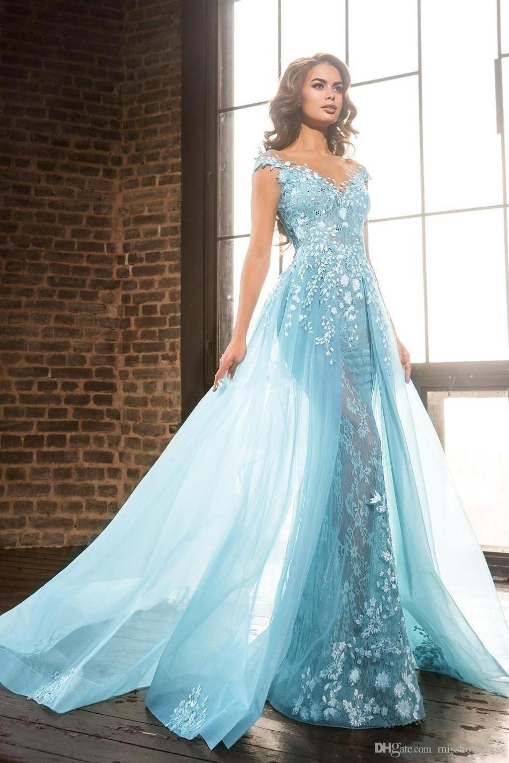 De luxe Bleu clair Sheer Jewel Neck robes de soirée A-Line Dentelle Appliques Perles Overskirts Pageant Robes De Soirée Robes De Festa