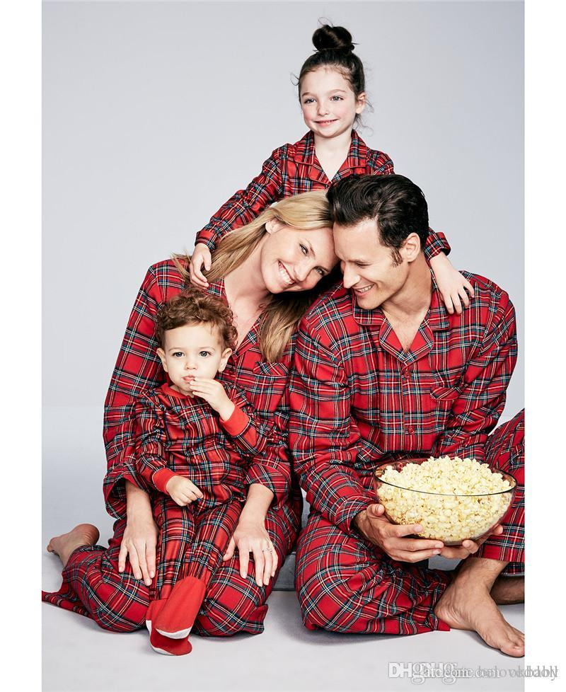 cb89b91de990 Matching Family Pajamas Cotton Plaid Tops+Long Pants Pajama Christmas Family  Outfits Clothes Matching Clothes For Mom And Baby Daughter Mommy Daddy And  Baby ...