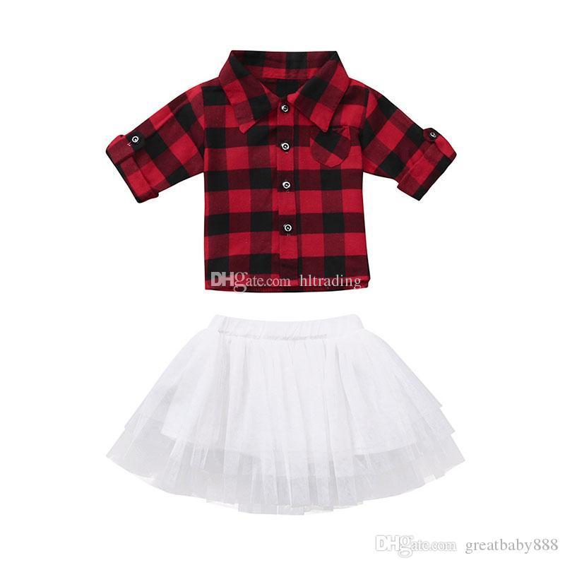 95d4fa319 Navidad bebés niñas trajes bebé rojo negro Plaid top tutu faldas de encaje  2 unids / set moda otoño Navidad niños enrejado Conjuntos de ropa ...