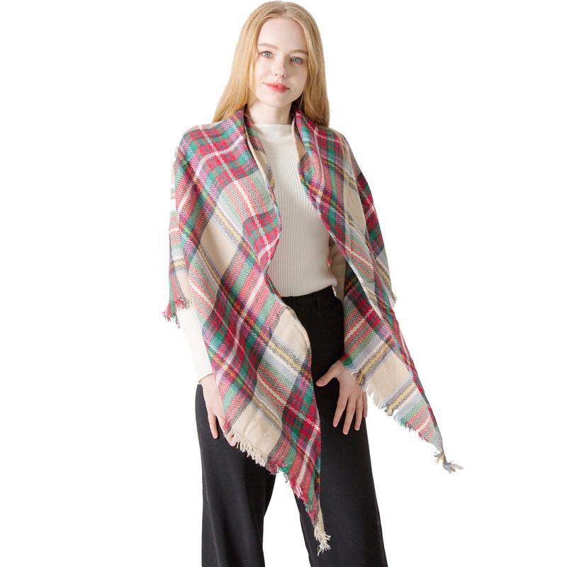 9757b6dc1 Trangle Plaid Scarf Blanket Women Winter Cashmere Shawl Soft Warm Female  Pashmina Scarves Cape Luxury Triangular Bandage Shawls Girl Off White Throw  Blanket ...