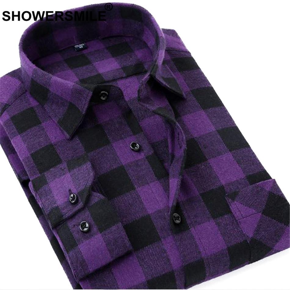 c3a70de08 SHOWERSMILE Violet Shirt Hommes À Manches Longues À Carreaux Chemise En  Flanelle Mâle Slim Fit Noir Blanc À Carreaux Automne Hiver Vêtements