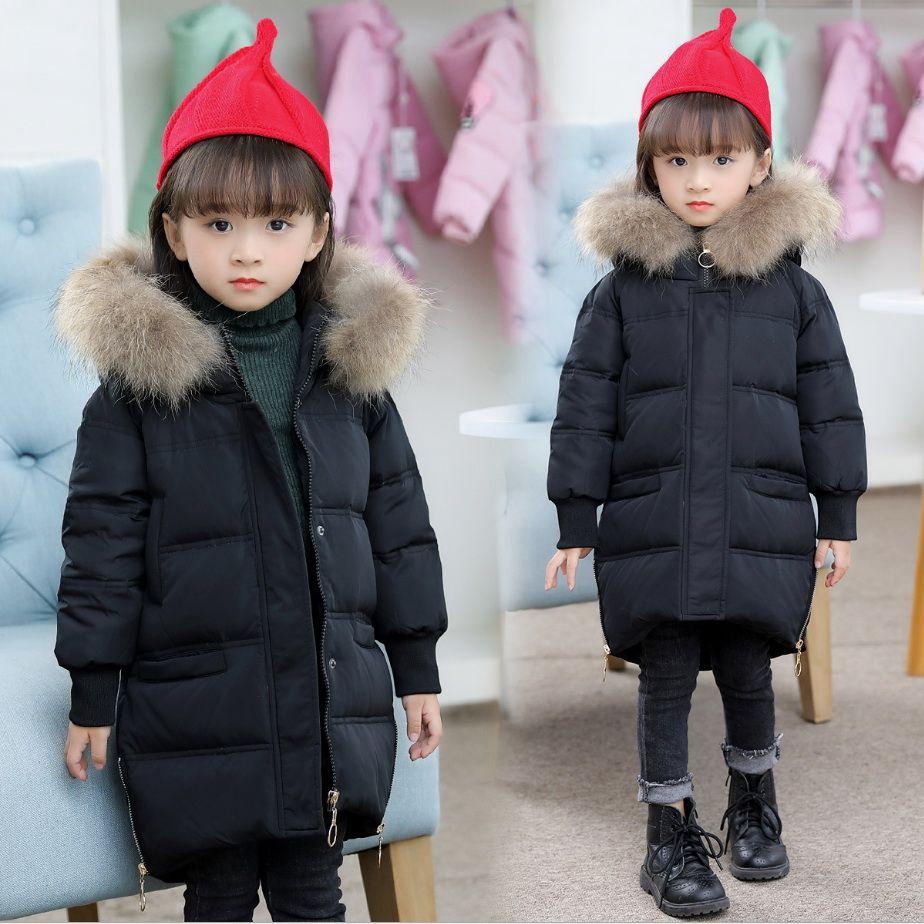 premium selection 8bb72 4b280 Kinder Winterkleidung Baby Mädchen warme Mäntel Oberbekleidung  Säuglingsschnee tragen Kinder Ente Parkas Pelz Hoodie Kleinkind Jacken Kind