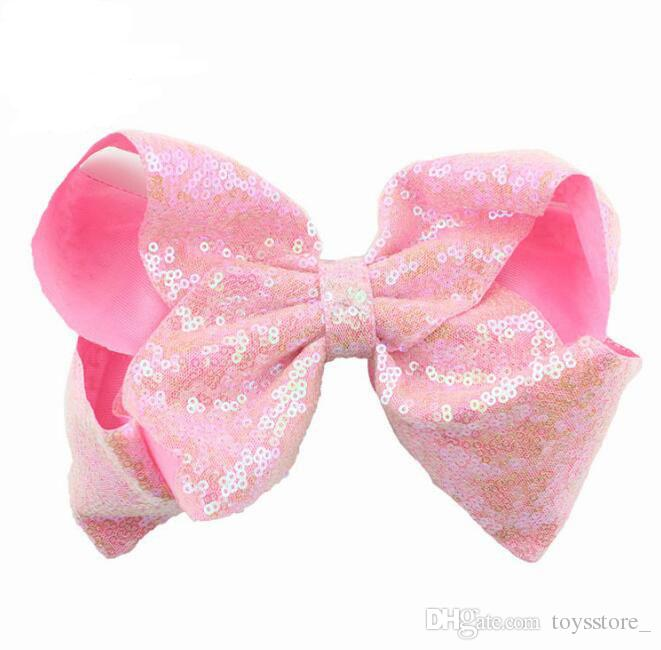 8 Inch Rhinestone Hair Bow Jojo Bows With Clip For School Baby Children Large Sequin Bow Unicorn Bow Mermaid 10 Style For valentines