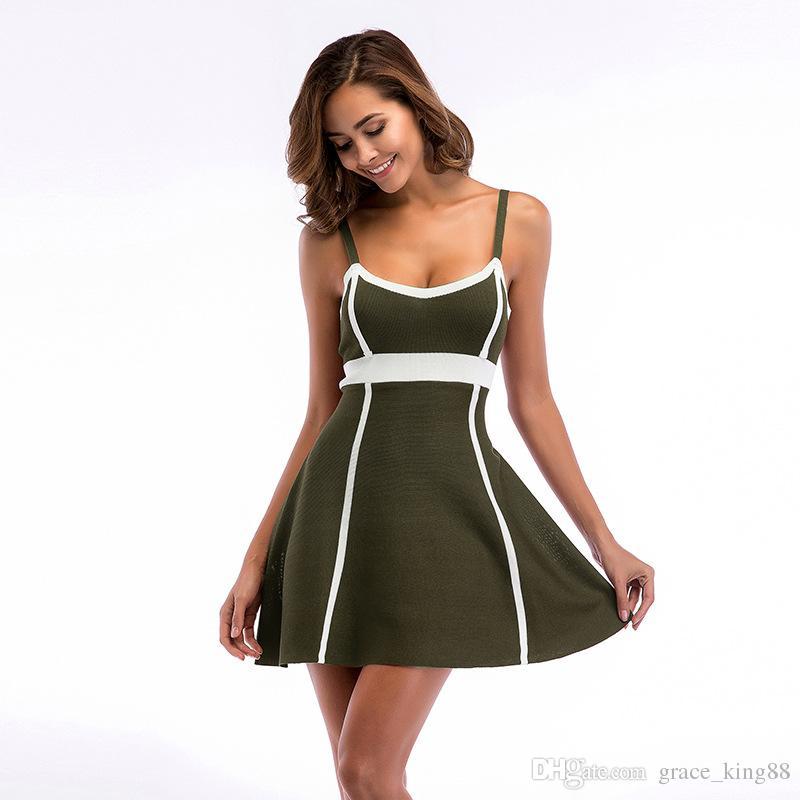 Весна Новое женское сексуальное вечернее платье элегантное облегающее трикотажное платье Модные бретельки A-line платье 3 цвета M-XL