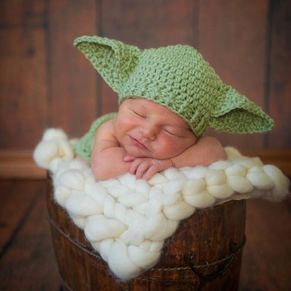 2019 Dreamshining Baby Hat Yoda Outfit Handmade Knitted Cap Crochet