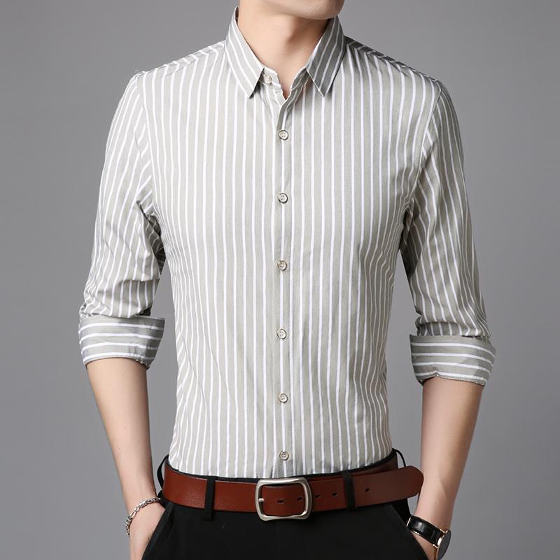 Acquista 2018 Camicie Di Marca Di Moda Da Uomo Stripped Alta Qualità  Regular Fit Streetwear Manica Lunga Allenamento Button Up Casual Mens  Clothes A  43.65 ... 398606ea46e