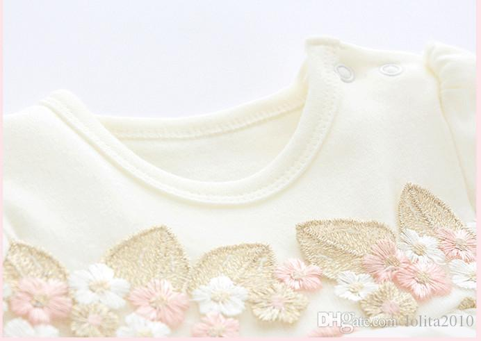 Newborn Baby spring/autumn dress Girl Clothes embroidered Flowers long sleeve veil cake TUTU party dresses white/pink 0-12M with kids caps