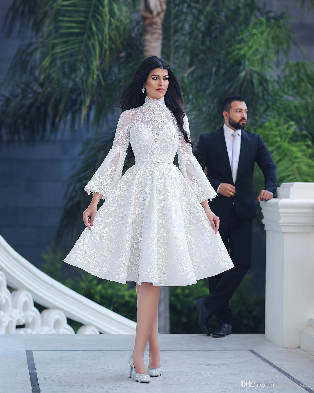2725b07aad Discount Vintage 2018 New Wedding Dresses A Line High Jewel Neck Long Bell  Sleeves Knee Length Wedding Dress Bridal Gowns Vestido De Novia Empire Line  ...
